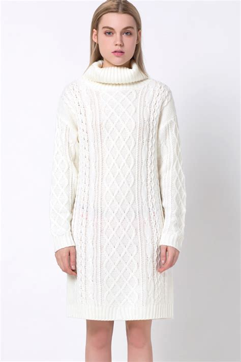 Turtleneck Cable Knit Dress white turtleneck sleeve cable knit casual sweater