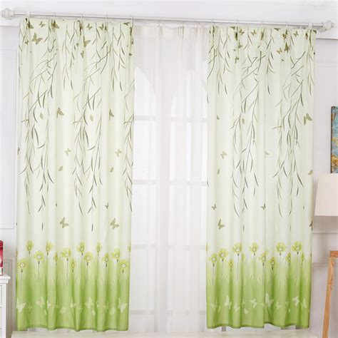 Paris Home Decor Accessories Lime Green And White Color Block Natural Short Curtains
