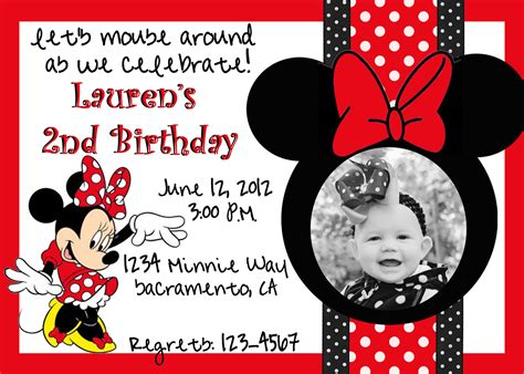 custom red minnie mouse birthday invitation photo card 5x7 or