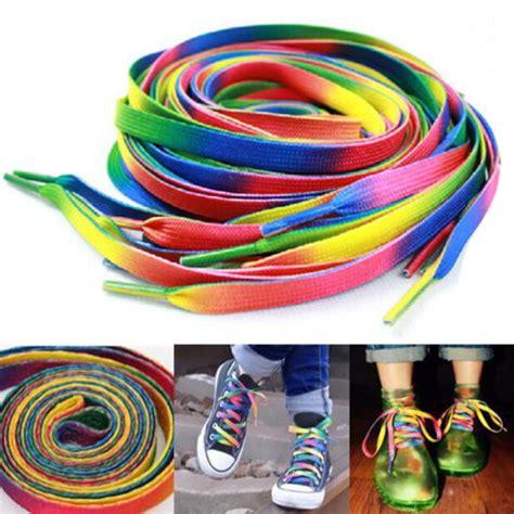 Sepatu Flat Tali Ribbon 1 pair 47inch rainbow multi colors flat sports shoe laces