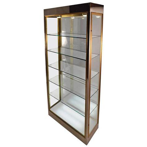 Vitrine Display Cabinet by Chrome And Brass Vitrine Display Cabinet At 1stdibs