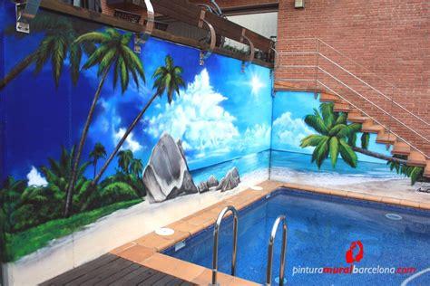 mural graffiti playa en piscina cabrera de mar