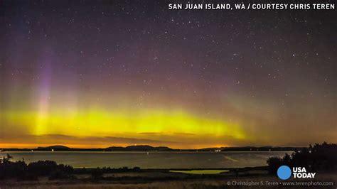 northern lights washington state watch aurora borealis glows over washington state
