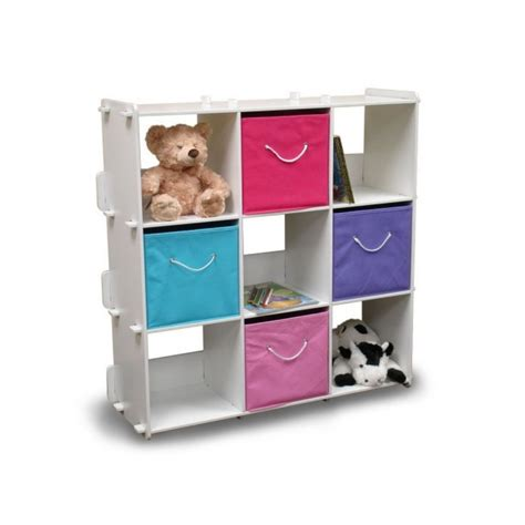 popular kids girls room with colorful toy storage shelves