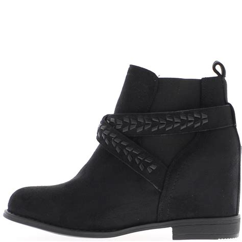 low ankle boots black faux suede heel 7 5cm and flanges