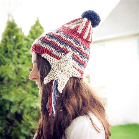 knit loom hat loom knit patriotic earflap hat pattern this moment is