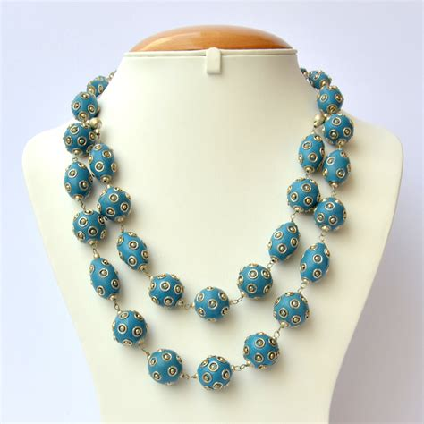 Handmade Bead Necklace - handmade necklace with blue metal balls