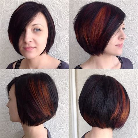 hairstyles peekaboo highlights women s classic bob on dark hair with bright fiery