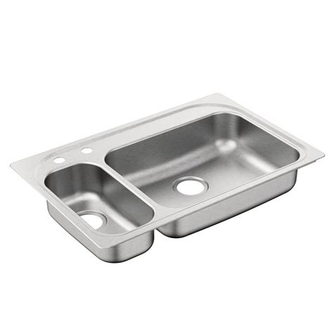 Moen Kitchen Sinks Moen 2000 Series Drop In Stainless Steel 33 In 2 Basin Kitchen Sink G202852b The