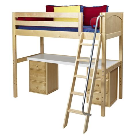 loft bed with desk and drawers knockout high loft bed with desk and 2 drawers in natural
