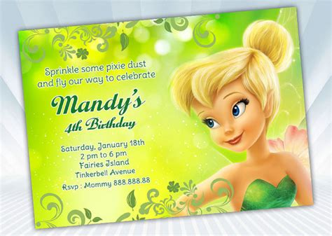 tinkerbell invitation card template free tinkerbell birthday invitations bagvania free