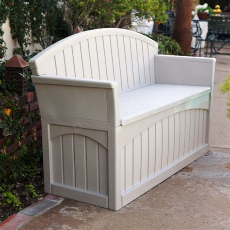 plastic garden storage bench seat patio storage bench plastic box 2 seats outdoor furniture