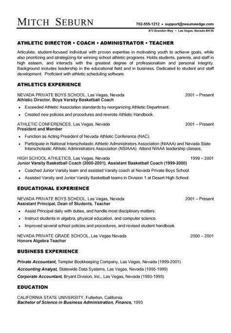 coaching resume template coach resume exle sle