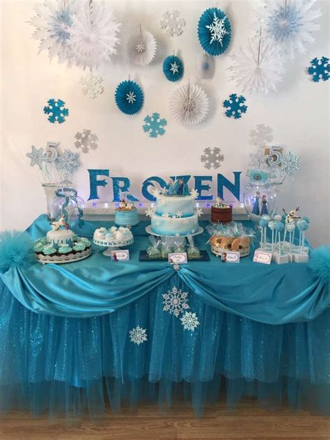 stunning dessert table   frozen birthday party   party planning ideas  catchmyparty