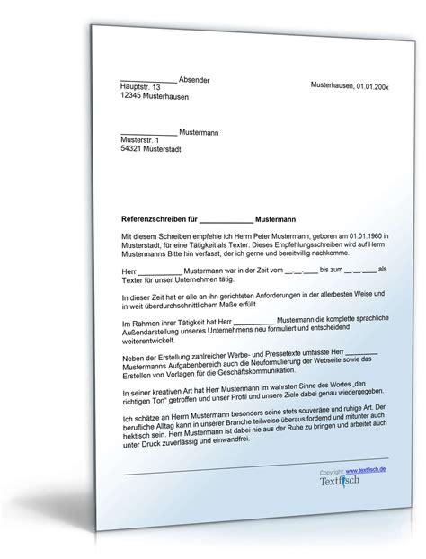 referenzschreiben bank muster referenzschreiben f 252 r einen texter musterbrief zum