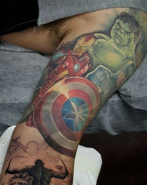 avengers tattoo sleeve 1000 ideas about on marvel