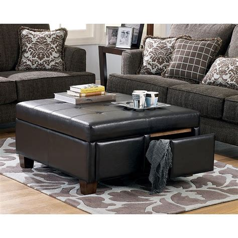ashley ottoman with 4 storage drawers durahide bicast brown ottoman w drawers signature