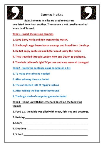 printable handwriting worksheets ks3 punctuation commas complete lessons to master them