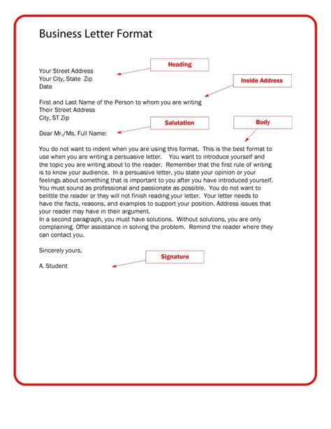 Write A Business Template template for business letter business letter template