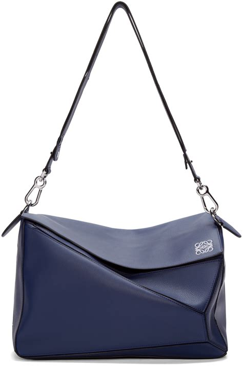 Loewe Puzzle Bag Large loewe navy leather large puzzle bag in blue lyst