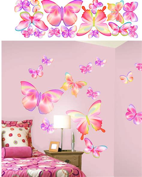 pink butterfly wall stickers butterfly pink peel and stick stickers wall decor store