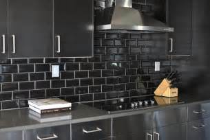 Black Backsplash Kitchen Stainless Steel Kitchen Cabinets With Black Subway Tile