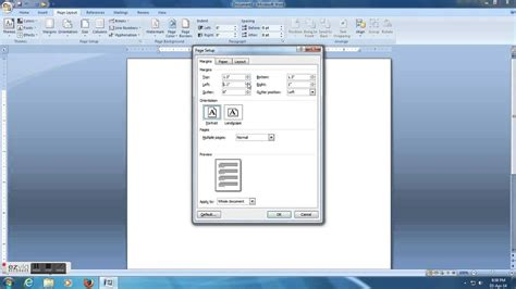how to set 1 inch margins in microsoft word