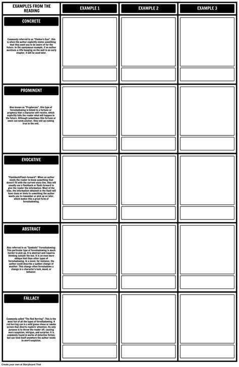 typedef template types of foreshadowing worksheet template 2