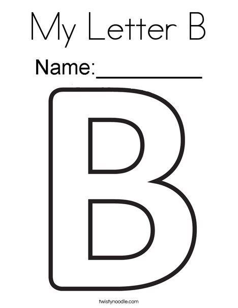 coloring page for letter b my letter b coloring page twisty noodle