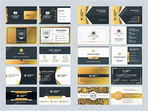 javascript golden layout set of creative golden business card design templates