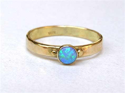 Handcrafted Engagement Rings Uk - opal solitaire ring opal engagement ring stackable ring