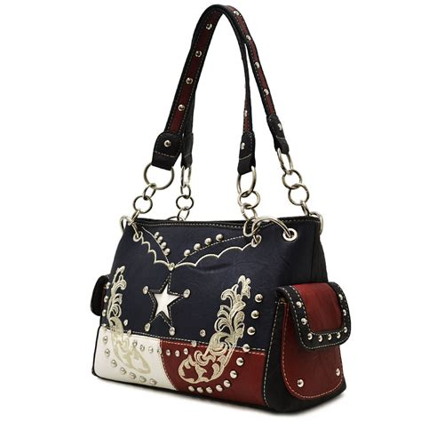 Stud Style Bag 7 flag stud western bag tx 893 bk youngstar handbags handbag handbags fashion