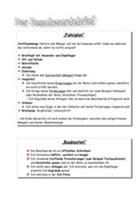 beschwerdebrief thema 4teachers lehrproben unterrichtsentw 252 rfe und unterrichtsmaterial f 252 r lehrer und referendare