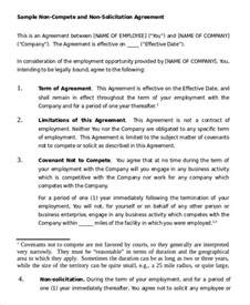 Non Competition Clause Template by Non Compete Agreement Template 9 Free Sle Exle