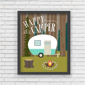 Etsy Home Decor Home Decor Camping Wall Art Happy Camper Art By