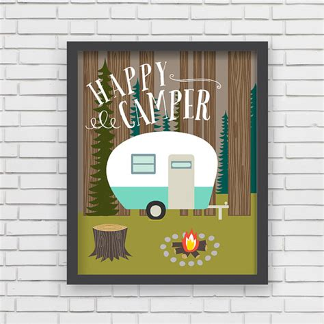 happy home decor home decor cing wall art happy cer art print 11x14