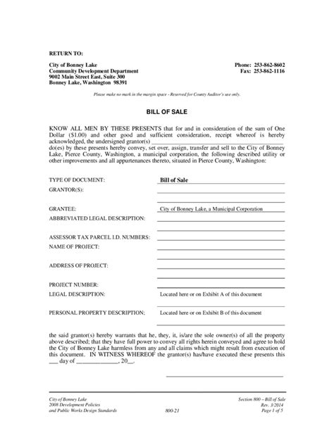 washington bill of sale form free templates in pdf word