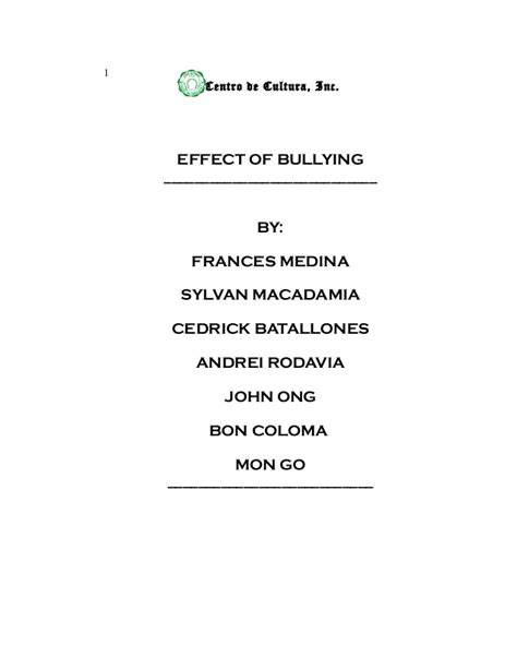 dedication thesis about bullying research thesis effects of bullying