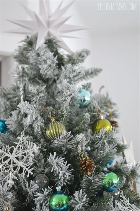 green silver for christmas our teal green silver and white vintage inspired flocked tree the diy