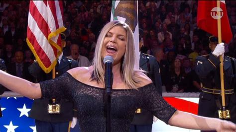 Preforms At The Nba All by Fergie Performs National Anthem At Nba All