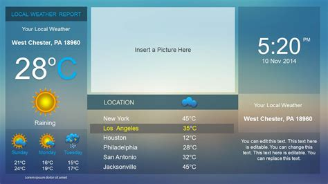 Weather Dashboard Powerpoint Template Slidemodel Weather Report Template