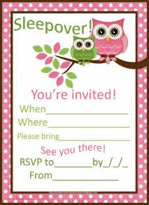 invitations for sleepover