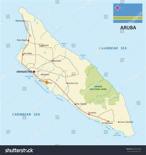 printable aruba road map aruba road map flag stock vector 280545380 shutterstock