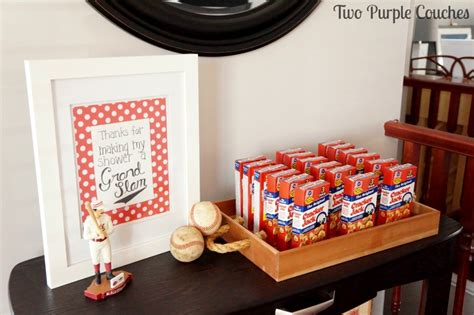 Baby Shower Baseball Theme Decorations by Baseball Themed Baby Shower Two Purple Couches