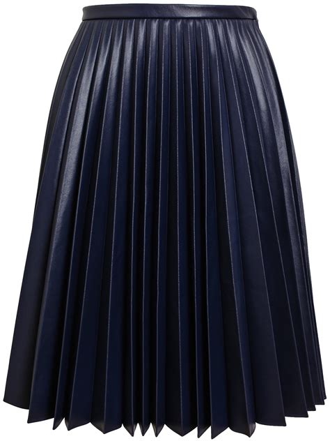 j w pleated faux leather skirt in blue lyst