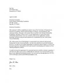 Cover Letter For A Scholarship by Sle Scholarship Cover Letter