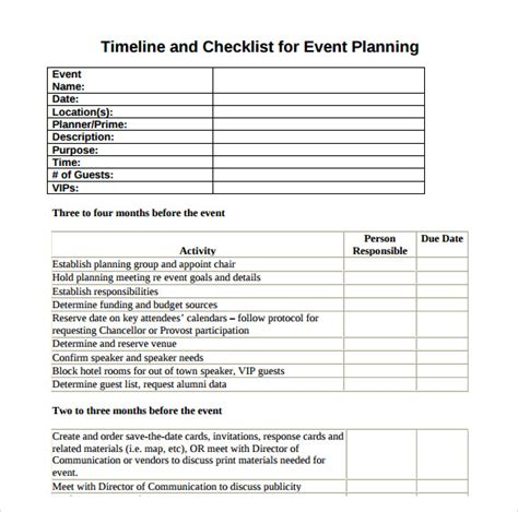 timeline checklist template event timeline 10 free documents in pdf doc