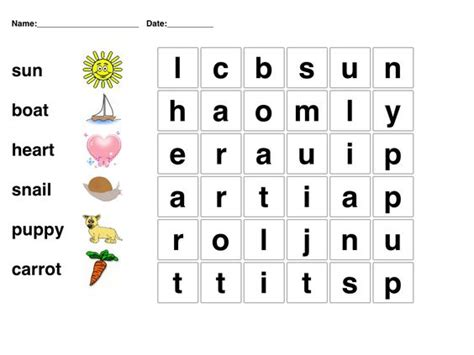 printable games online kindergarten word search picture word puzzle for