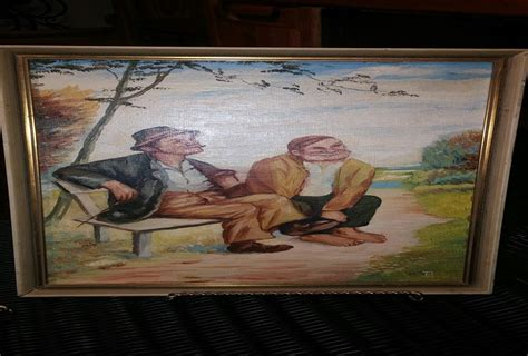 hobo on a bench german hobo oil paintings artist signature mark id