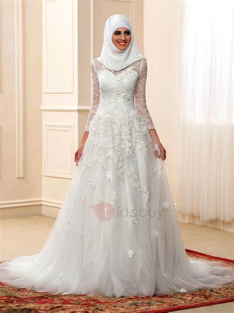 arabic bridal gowns modest sheer long sleeve arabic wedding dress tidebuy
